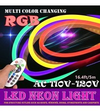 Flexible RGB NEON Strips 110 VAC - 16 Ft
