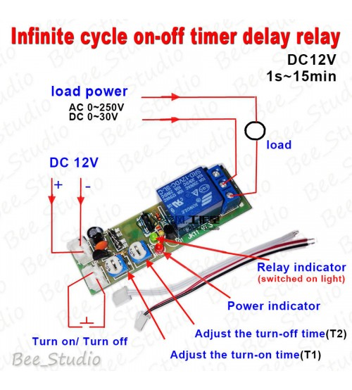 12v Dc Infinite Cycle Delay Timing Timer Relay