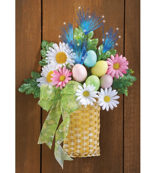 Fiber Optic Easter Egg Floral Wall Basket
