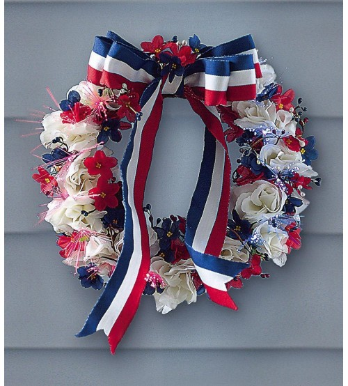 12 Patriotic 4th Of July Fiber Optic Wreath