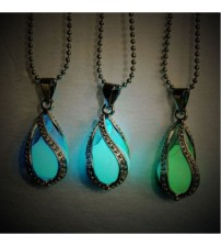 Teardrop Glow In The Dark Pendant Necklace Chain Jewelry