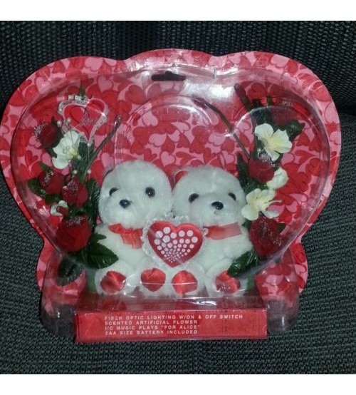 Valentine Bears Display w Roses Fiber Optic Lights Music